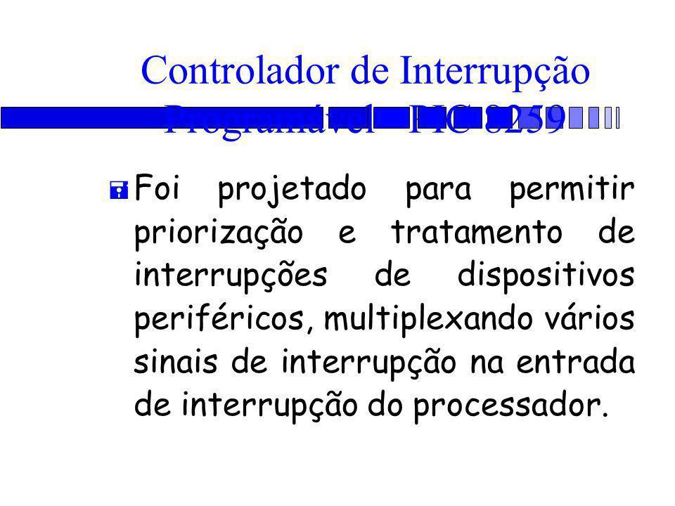 Controlador de Interrupção Programável - PIC 8259 = Foi projetado para permitir priorização e tratamento de interrupções de dispositivos periféricos, multiplexando vários sinais de interrupção na entrada de interrupção do processador.