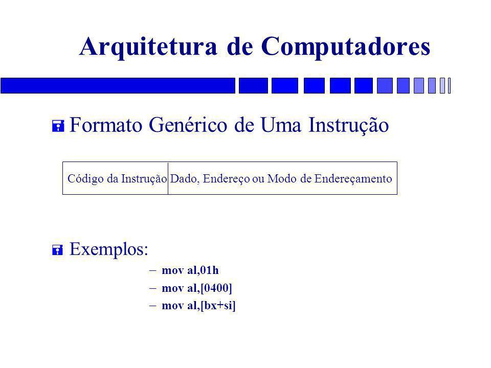 Arquitetura de Computadores = Formato Genérico de Uma Instrução = Exemplos: – mov al,01h – mov al,[0400] – mov al,[bx+si] Código da Instrução Dado, Endereço ou Modo de Endereçamento