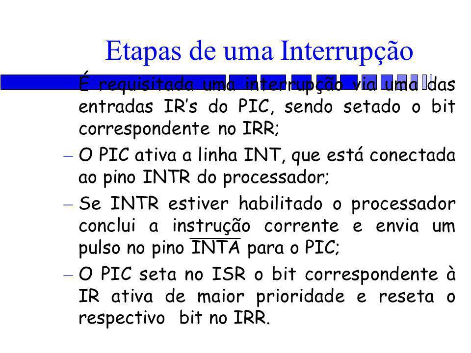 Etapas de uma Interrupção – É requisitada uma interrupção via uma das entradas IR's do PIC, sendo setado o bit correspondente no IRR; – O PIC ativa a linha INT, que está conectada ao pino INTR do processador; – Se INTR estiver habilitado o processador conclui a instrução corrente e envia um pulso no pino INTA para o PIC; – O PIC seta no ISR o bit correspondente à IR ativa de maior prioridade e reseta o respectivo bit no IRR.