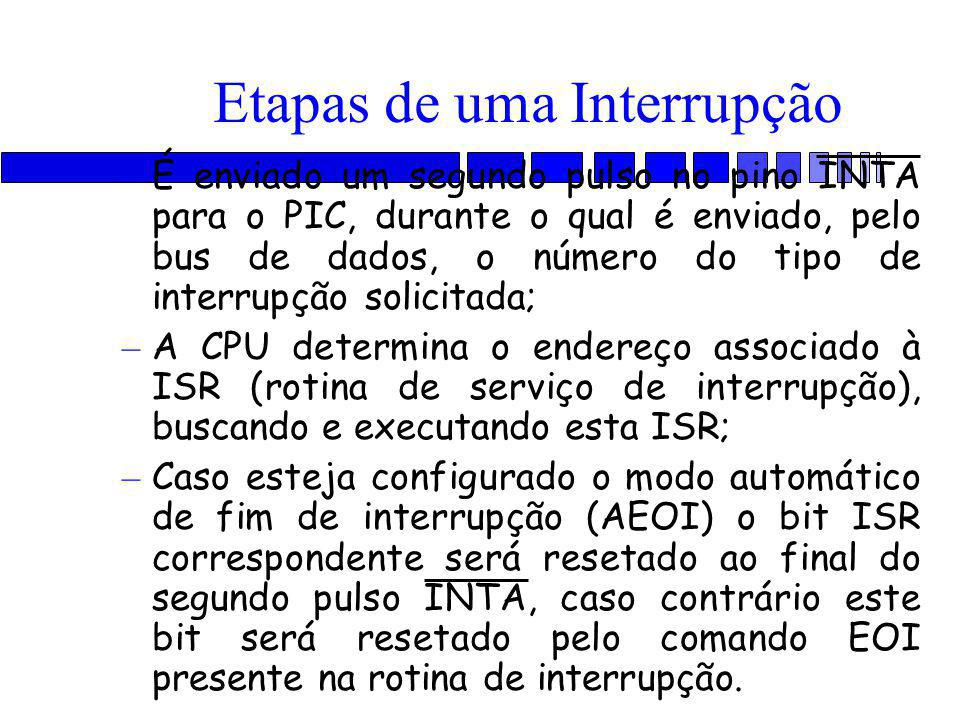 – É enviado um segundo pulso no pino INTA para o PIC, durante o qual é enviado, pelo bus de dados, o número do tipo de interrupção solicitada; – A CPU determina o endereço associado à ISR (rotina de serviço de interrupção), buscando e executando esta ISR; – Caso esteja configurado o modo automático de fim de interrupção (AEOI) o bit ISR correspondente será resetado ao final do segundo pulso INTA, caso contrário este bit será resetado pelo comando EOI presente na rotina de interrupção.