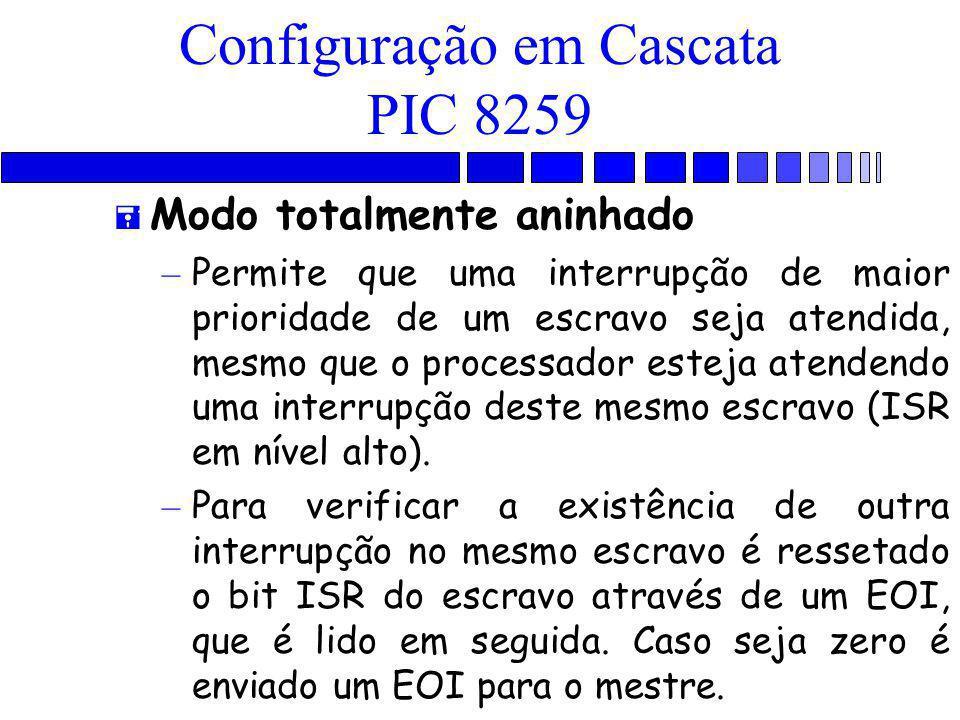 Configuração em Cascata PIC 8259 = Modo totalmente aninhado – Permite que uma interrupção de maior prioridade de um escravo seja atendida, mesmo que o processador esteja atendendo uma interrupção deste mesmo escravo (ISR em nível alto).