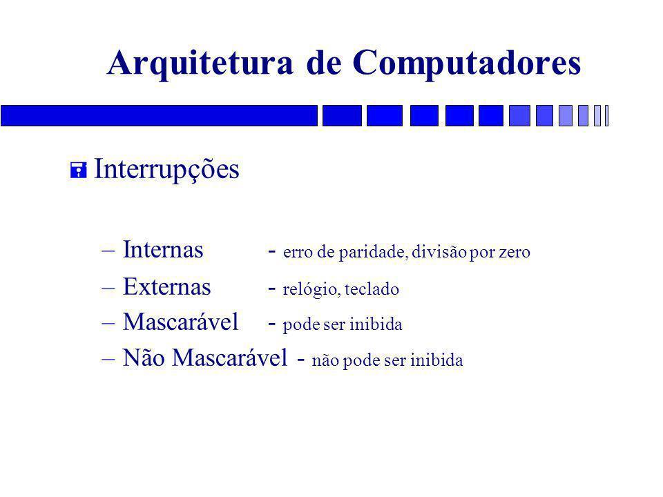 Arquitetura de Computadores = Interrupções –Internas- erro de paridade, divisão por zero –Externas - relógio, teclado –Mascarável- pode ser inibida –N