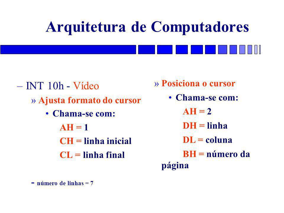 Arquitetura de Computadores –INT 10h - Vídeo »Ajusta formato do cursor Chama-se com: AH = 1 CH = linha inicial CL = linha final - número de linhas = 7 »Posiciona o cursor Chama-se com: AH = 2 DH = linha DL = coluna BH = número da página