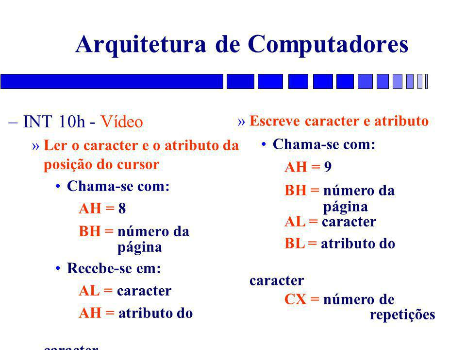 Arquitetura de Computadores –INT 10h - Vídeo »Ler o caracter e o atributo da posição do cursor Chama-se com: AH = 8 BH = número da página Recebe-se em: AL = caracter AH = atributo do caracter »Escreve caracter e atributo Chama-se com: AH = 9 BH = número da página AL = caracter BL = atributo do caracter CX = número de repetições