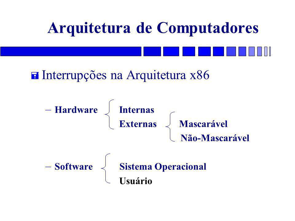 Arquitetura de Computadores = Interrupções na Arquitetura x86 – HardwareInternas Externas Mascarável Não-Mascarável – Software Sistema Operacional Usuário