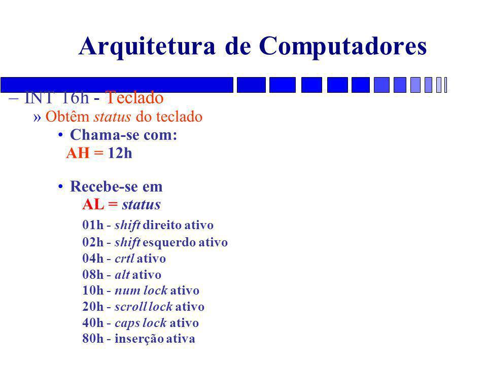 Arquitetura de Computadores –INT 16h - Teclado »Obtêm status do teclado Chama-se com: AH = 12h Recebe-se em AL = status 01h - shift direito ativo 02h - shift esquerdo ativo 04h - crtl ativo 08h - alt ativo 10h - num lock ativo 20h - scroll lock ativo 40h - caps lock ativo 80h - inserção ativa