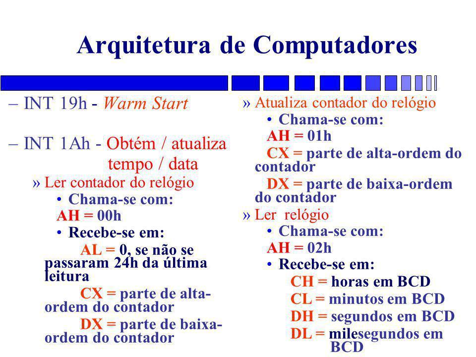 Arquitetura de Computadores –INT 19h - Warm Start –INT 1Ah - Obtém / atualiza tempo / data »Ler contador do relógio Chama-se com: AH = 00h Recebe-se em: AL = 0, se não se passaram 24h da última leitura CX = parte de alta- ordem do contador DX = parte de baixa- ordem do contador »Atualiza contador do relógio Chama-se com: AH = 01h CX = parte de alta-ordem do contador DX = parte de baixa-ordem do contador »Ler relógio Chama-se com: AH = 02h Recebe-se em: CH = horas em BCD CL = minutos em BCD DH = segundos em BCD DL = milesegundos em BCD