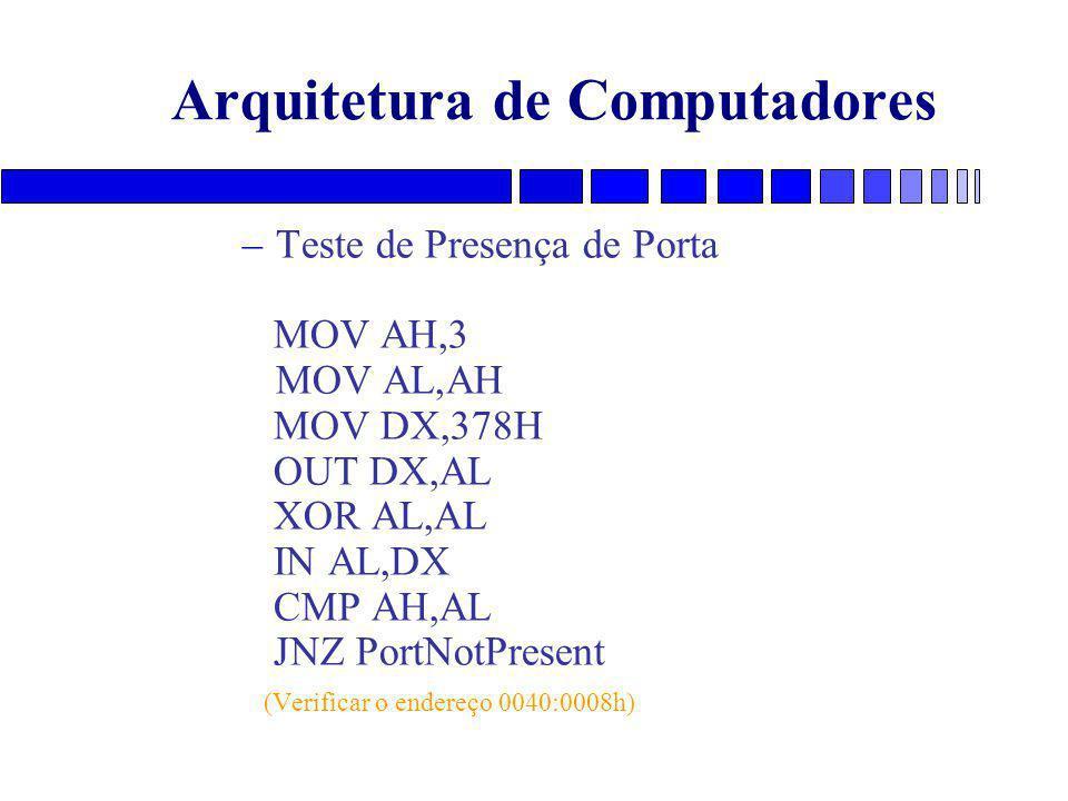 Arquitetura de Computadores –Teste de Presença de Porta MOV AH,3 MOV AL,AH MOV DX,378H OUT DX,AL XOR AL,AL IN AL,DX CMP AH,AL JNZ PortNotPresent (Verificar o endereço 0040:0008h)