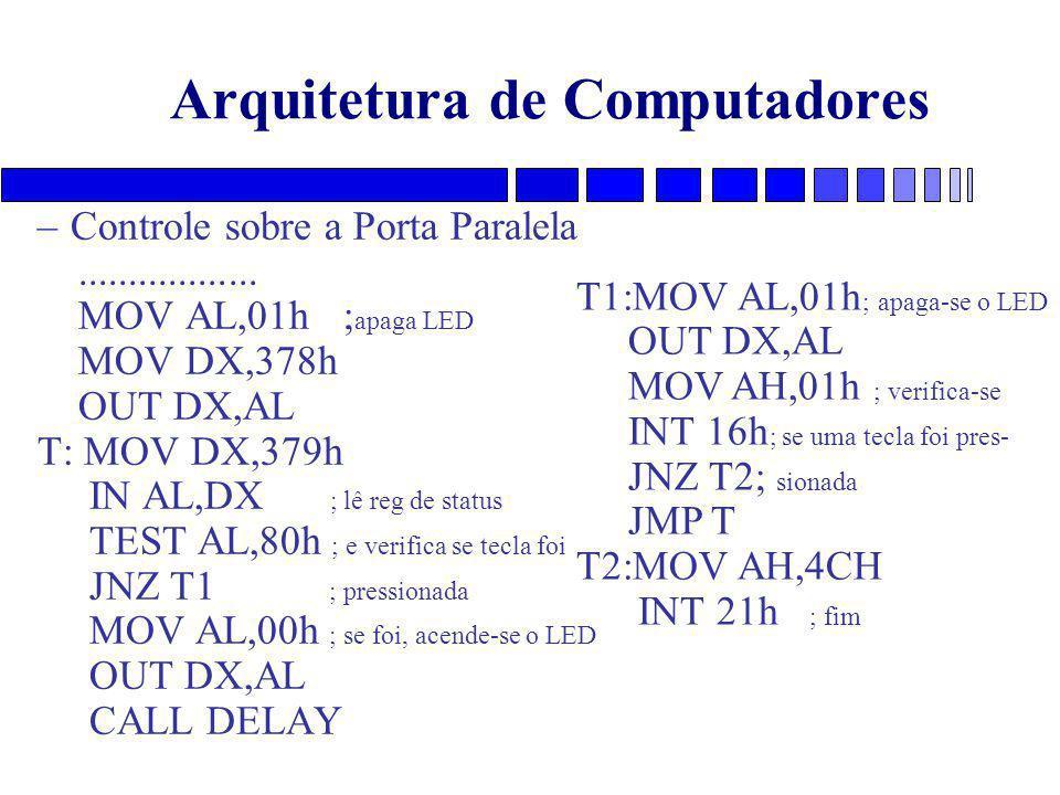 Arquitetura de Computadores –Controle sobre a Porta Paralela..................