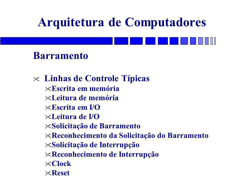 Arquitetura de Computadores Barramento Linhas de Controle Típicas Escrita em memória Leitura de memória Escrita em I/O Leitura de I/O Solicitação de Barramento Reconhecimento da Solicitação do Barramento Solicitação de Interrupção Reconhecimento de Interrupção Clock Reset