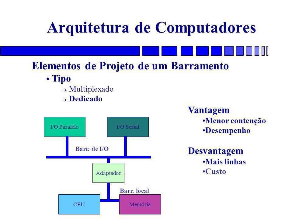 Arquitetura de Computadores Elementos de Projeto de um Barramento  Tipo  Multiplexado  Dedicado I/O ParaleloI/O SerialCPUMemória Vantagem Menor contenção Desempenho Desvantagem Mais linhas Custo Adaptador Barr.