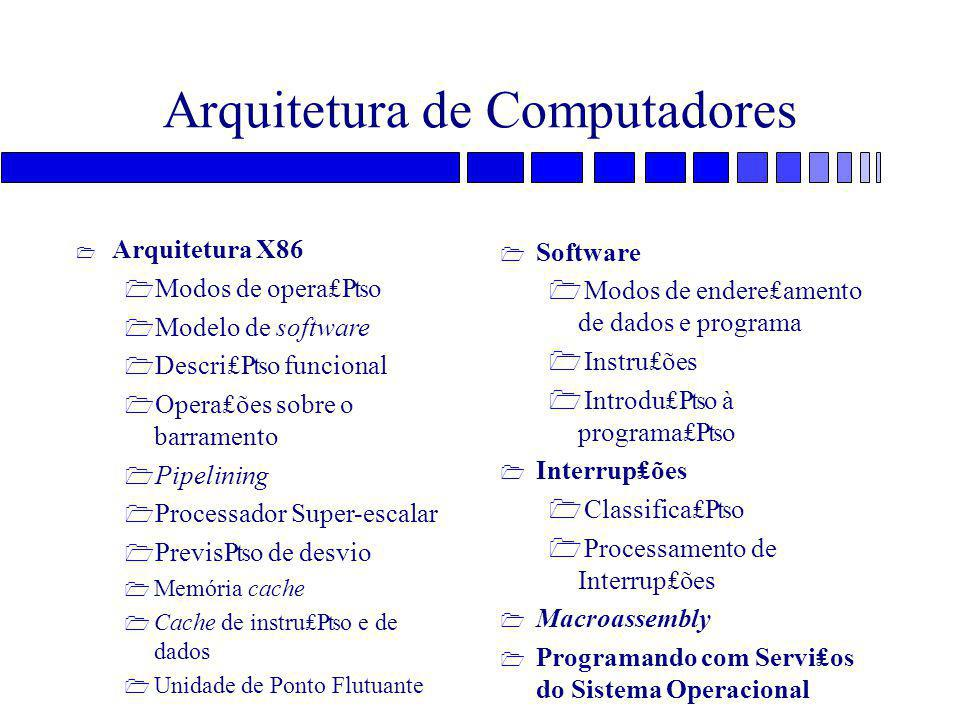 Arquitetura de Computadores = Arquiteturas RISC X CISC – Complex Instruction Set Computer – Reduced Instruction Set Computer » RISC : SPARC » CISC : Intel 386