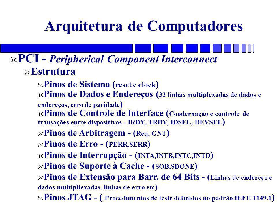 Arquitetura de Computadores PCI - Peripherical Component Interconnect Estrutura Pinos de Sistema ( reset e clock ) Pinos de Dados e Endereços ( 32 linhas multiplexadas de dados e endereços, erro de paridade ) Pinos de Controle de Interface ( Coodernação e controle de transações entre dispositivos - IRDY, TRDY, IDSEL, DEVSEL ) Pinos de Arbitragem - ( Req, GNT ) Pinos de Erro - ( PERR,SERR ) Pinos de Interrupção - ( INTA,INTB,INTC,INTD ) Pinos de Suporte à Cache - ( SOB,SDONE ) Pinos de Extensão para Barr.