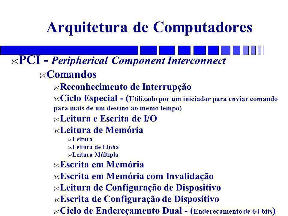 Arquitetura de Computadores PCI - Peripherical Component Interconnect Comandos Reconhecimento de Interrupção Ciclo Especial - ( Utilizado por um iniciador para enviar comando para mais de um destino ao memo tempo) Leitura e Escrita de I/O Leitura de Memória Leitura Leitura de Linha Leitura Múltipla Escrita em Memória Escrita em Memória com Invalidação Leitura de Configuração de Dispositivo Escrita de Configuração de Dispositivo Ciclo de Endereçamento Dual - ( Endereçamento de 64 bits )