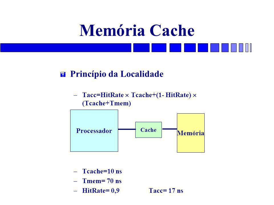 Memória Cache = Princípio da Localidade – Tacc=HitRate  Tcache+(1- HitRate)  (Tcache+Tmem) – Tcache=10 ns – Tmem= 70 ns – HitRate= 0,9 Tacc= 17 ns Processador Cache Memória