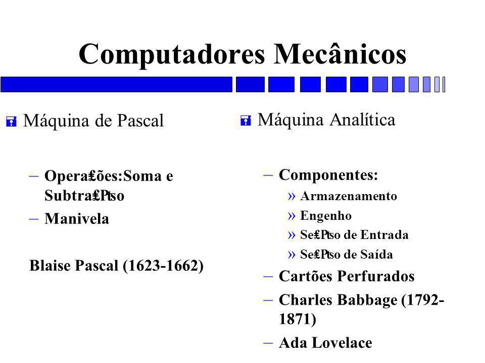 Computadores Mecânicos = Máquina de Pascal – Opera₤ões:Soma e Subtra₤₧o – Manivela Blaise Pascal (1623-1662) = Máquina Analítica – Componentes: » Armazenamento » Engenho » Se₤₧o de Entrada » Se₤₧o de Saída – Cartões Perfurados – Charles Babbage (1792- 1871) – Ada Lovelace
