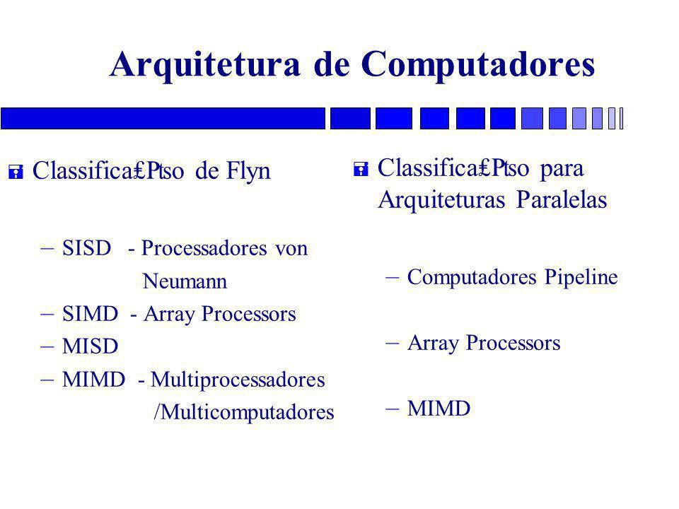 Arquitetura de Computadores = Classifica₤₧o de Flyn – SISD - Processadores von Neumann – SIMD - Array Processors – MISD – MIMD - Multiprocessadores /Multicomputadores = Classifica₤₧o para Arquiteturas Paralelas – Computadores Pipeline – Array Processors – MIMD
