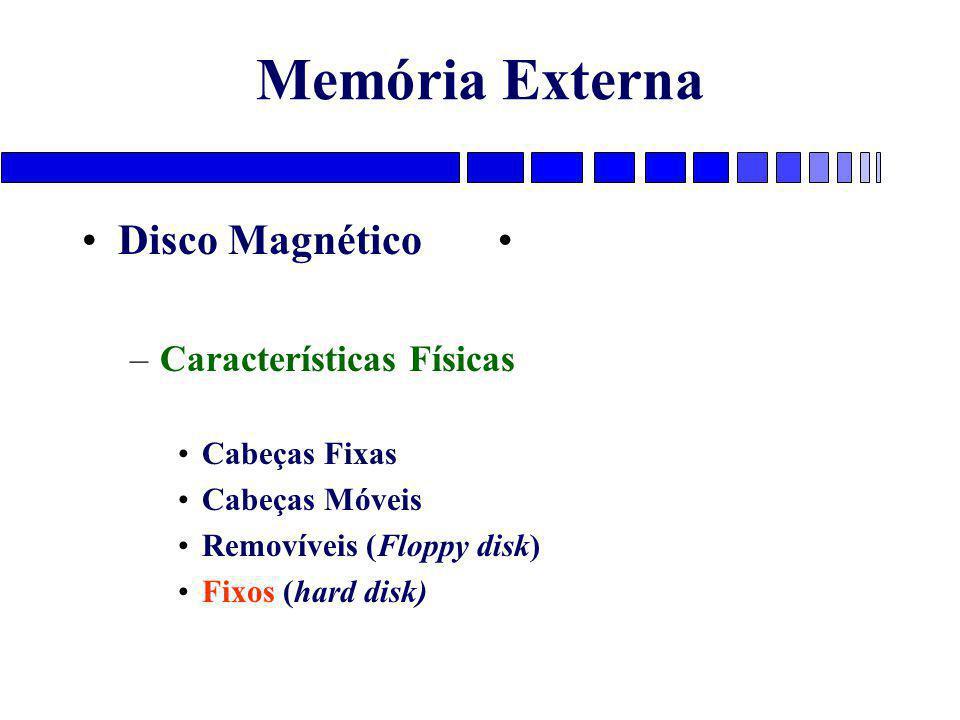 Memória Externa Disco Magnético –Características Físicas Cabeças Fixas Cabeças Móveis Removíveis (Floppy disk) Fixos (hard disk)