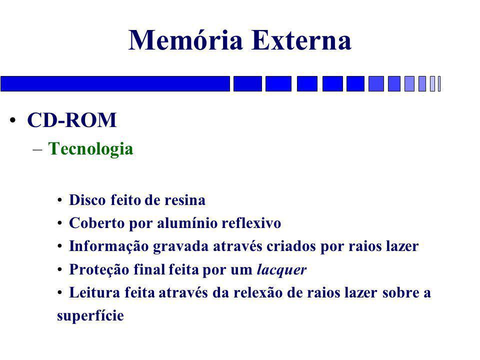 Memória Externa CD-ROM –Tecnologia Disco feito de resina Coberto por alumínio reflexivo Informação gravada através criados por raios lazer Proteção fi