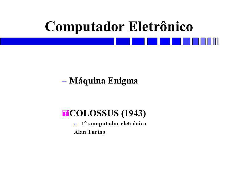Computador Eletrônico –Máquina Enigma = COLOSSUS (1943) » 1° computador eletrônico Alan Turing