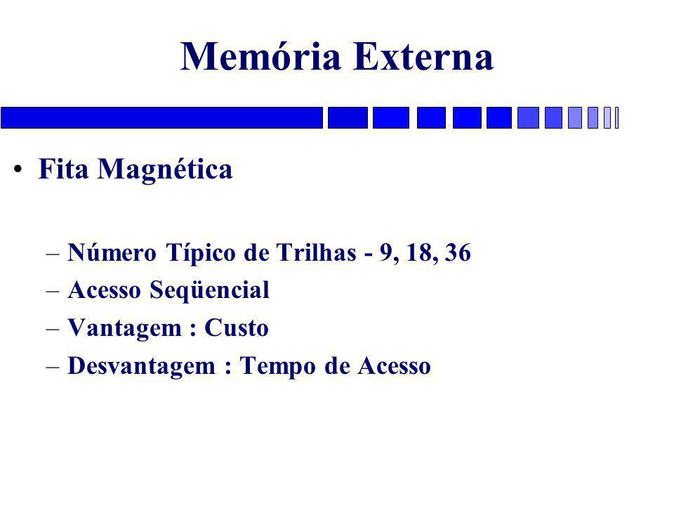 Memória Externa Fita Magnética –Número Típico de Trilhas - 9, 18, 36 –Acesso Seqüencial –Vantagem : Custo –Desvantagem : Tempo de Acesso