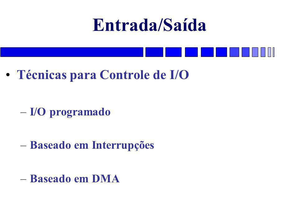Entrada/Saída Técnicas para Controle de I/O –I/O programado –Baseado em Interrupções –Baseado em DMA
