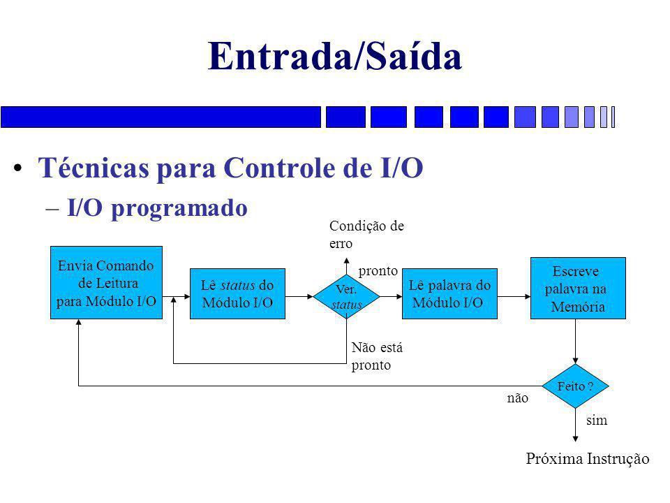 Entrada/Saída Técnicas para Controle de I/O –I/O programado Envia Comando de Leitura para Módulo I/O Lê status do Módulo I/O Lê palavra do Módulo I/O Escreve palavra na Memória Ver.