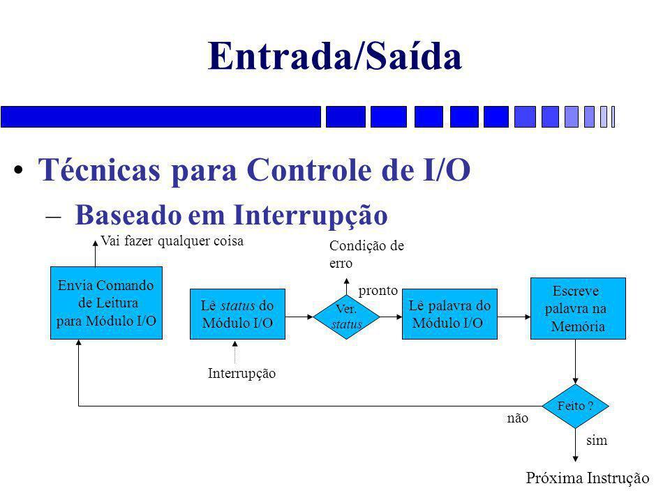 Entrada/Saída Técnicas para Controle de I/O – Baseado em Interrupção Envia Comando de Leitura para Módulo I/O Lê status do Módulo I/O Lê palavra do Mó