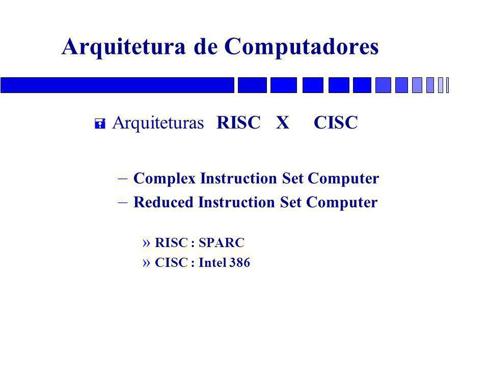 Arquitetura de Computadores = Arquiteturas RISC X CISC – Complex Instruction Set Computer – Reduced Instruction Set Computer » RISC : SPARC » CISC : I