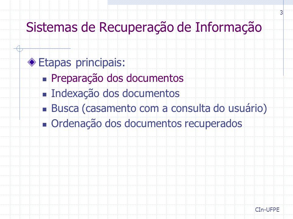 CIn-UFPE 3 Sistemas de Recuperação de Informação Etapas principais: Preparação dos documentos Indexação dos documentos Busca (casamento com a consulta