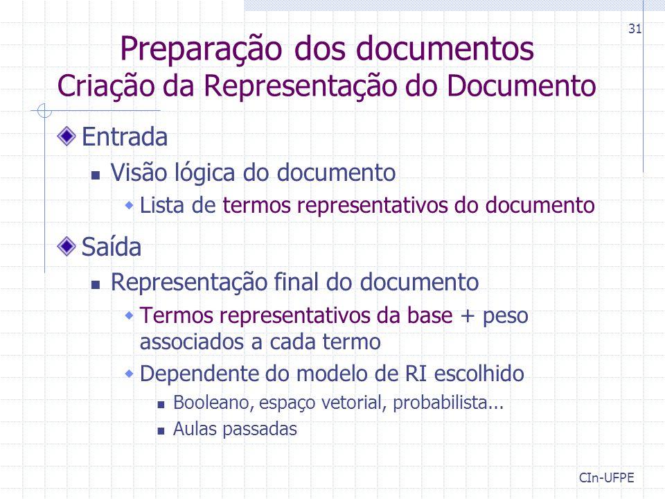 CIn-UFPE 31 Preparação dos documentos Criação da Representação do Documento Entrada Visão lógica do documento  Lista de termos representativos do doc