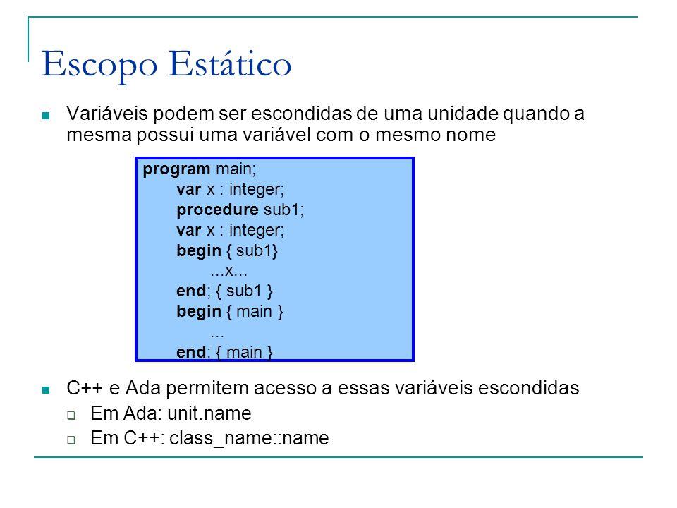 Escopo Estático Variáveis podem ser escondidas de uma unidade quando a mesma possui uma variável com o mesmo nome C++ e Ada permitem acesso a essas va