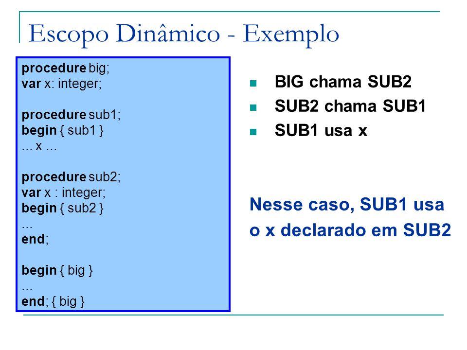 Escopo Dinâmico - Exemplo BIG chama SUB2 SUB2 chama SUB1 SUB1 usa x Nesse caso, SUB1 usa o x declarado em SUB2 procedure big; var x: integer; procedur
