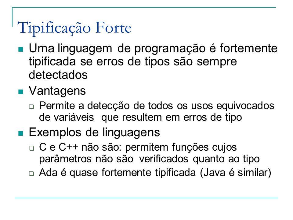 Tipificação Forte Uma linguagem de programação é fortemente tipificada se erros de tipos são sempre detectados Vantagens  Permite a detecção de todos