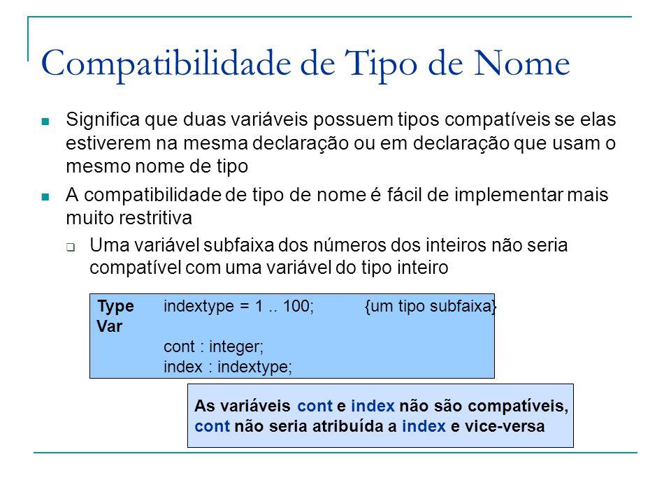 Compatibilidade de Tipo de Nome Significa que duas variáveis possuem tipos compatíveis se elas estiverem na mesma declaração ou em declaração que usam