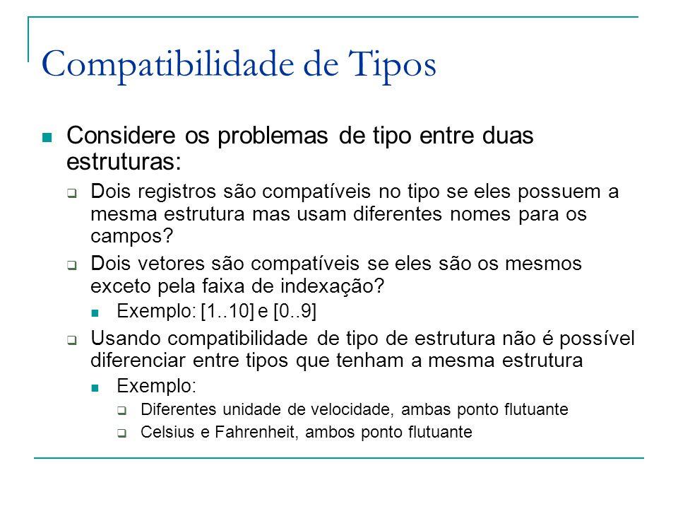 Compatibilidade de Tipos Considere os problemas de tipo entre duas estruturas:  Dois registros são compatíveis no tipo se eles possuem a mesma estrut