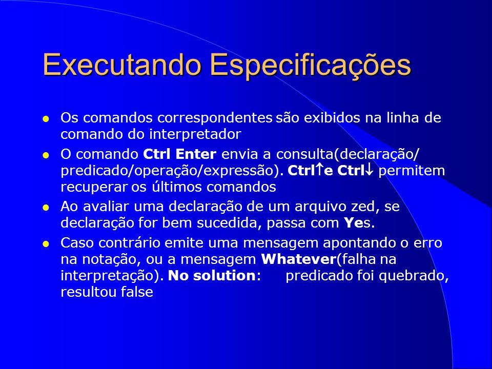 Executando Especificações l Como executar um esquema: –menu Dialogs/Compound: escolher o esquema –escolher opção Invoke para executar o esquema l Os esquemas delta: as varíáveis de entrada recebem valores, não importando a ordem: –NomeDoEsquema (sem váriáveis de entrada) –NomeDoEsquema {Valor1/var1?, Valor2/var2?} l O esquema operação de consulta(produz uma saída) : –NomeDoEsquema >> (sem variáveis de entrada) –NomeDoEsquema {Valor1/var1?, Valor2/var2?} >>