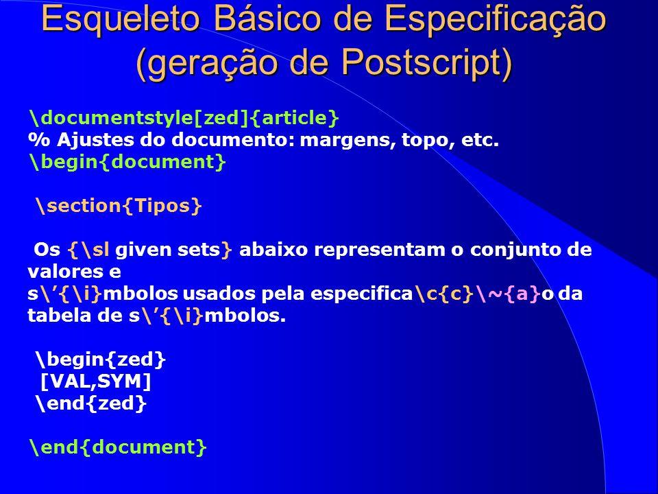 Elementos de Z em LaTeX  x, y, z: IN   x>y ^ y>z  x>z \begin{zed} \forall x, y, z: \nat @ \\ \t1 x>y \land y>z \implies x>z \end{zed}  \begin{axdef} C:T \where P(C) \end{axdef} C:T P(C)  Nome[Par]  Estado var1'=exp1 var2'=var2 \begin{schema}{Nome[Par]} \Delta Estado \where var1'=exp1 \\ var2'=var2 \end{schema} 