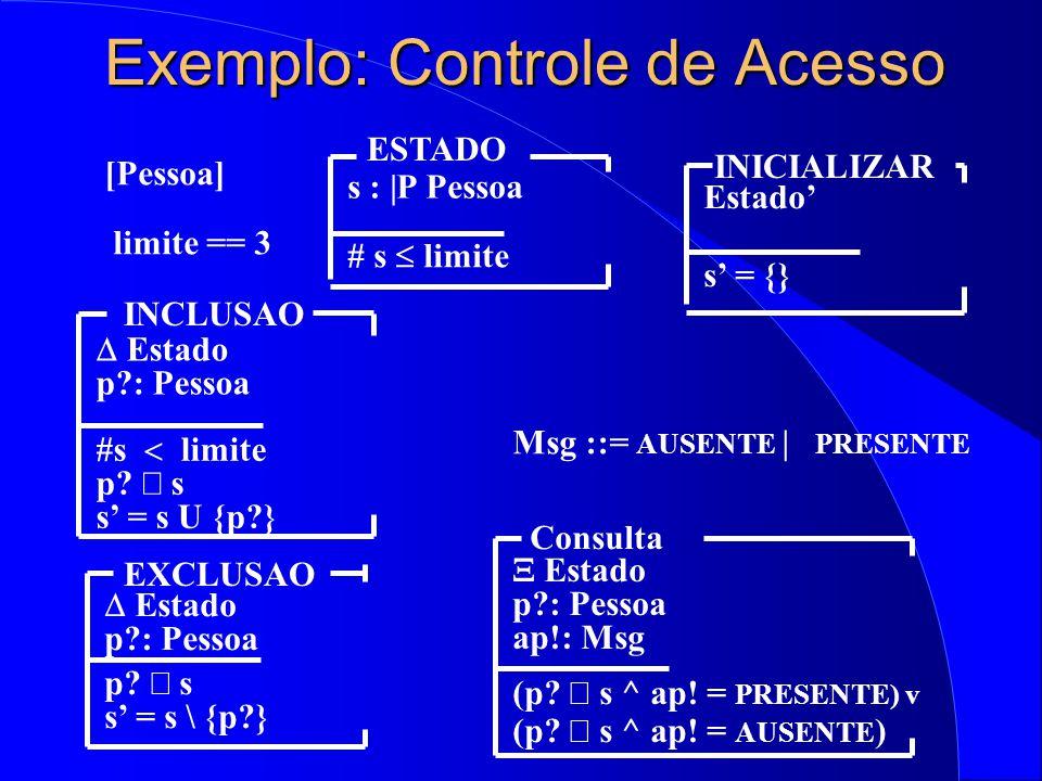 Exemplo: Controle de Acesso [Pessoa]  Estado p?: Pessoa p.