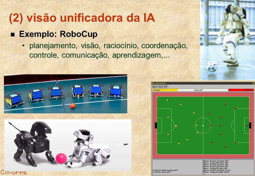 24 CIn-UFPE (2) visão unificadora da IA Exemplo: RoboCup planejamento, visão, raciocínio, coordenação, controle, comunicação, aprendizagem,...