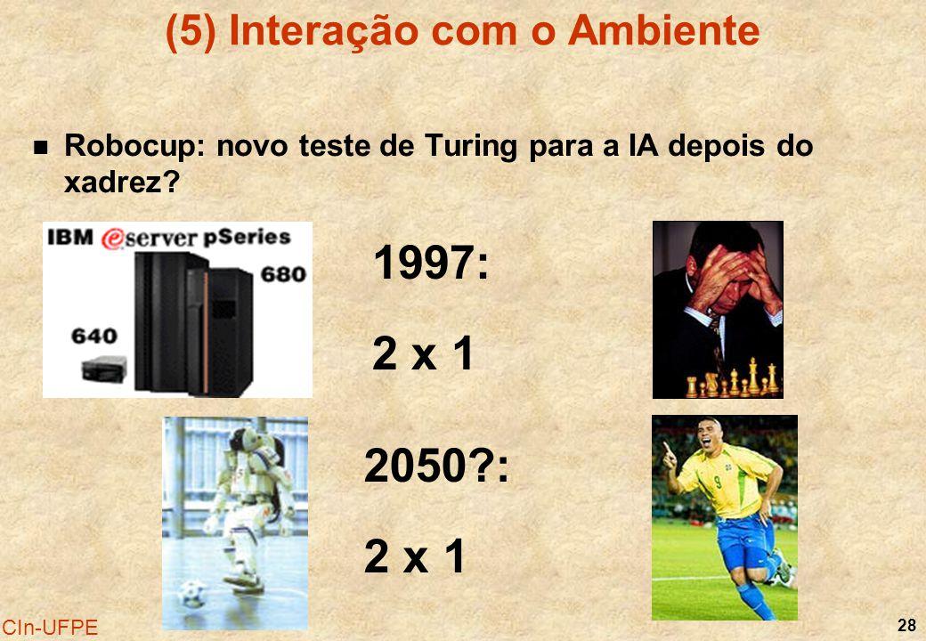 28 CIn-UFPE (5) Interação com o Ambiente Robocup: novo teste de Turing para a IA depois do xadrez? 1997: 2 x 1 2050?: 2 x 1