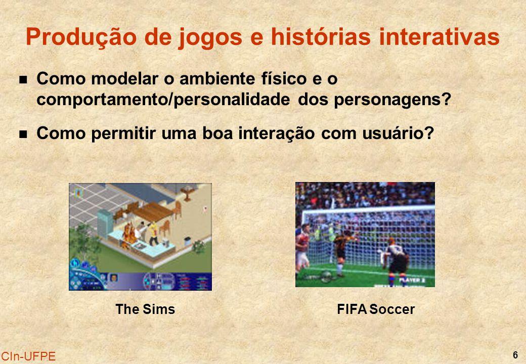 6 CIn-UFPE FIFA SoccerThe Sims Produção de jogos e histórias interativas Como modelar o ambiente físico e o comportamento/personalidade dos personagen