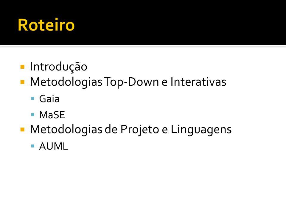  Introdução  Metodologias Top-Down e Interativas  Gaia  MaSE  Metodologias de Projeto e Linguagens  AUML