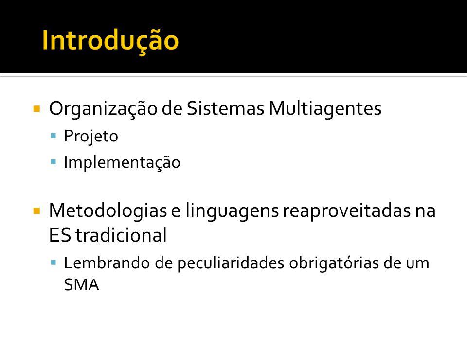  Organização de Sistemas Multiagentes  Projeto  Implementação  Metodologias e linguagens reaproveitadas na ES tradicional  Lembrando de peculiari
