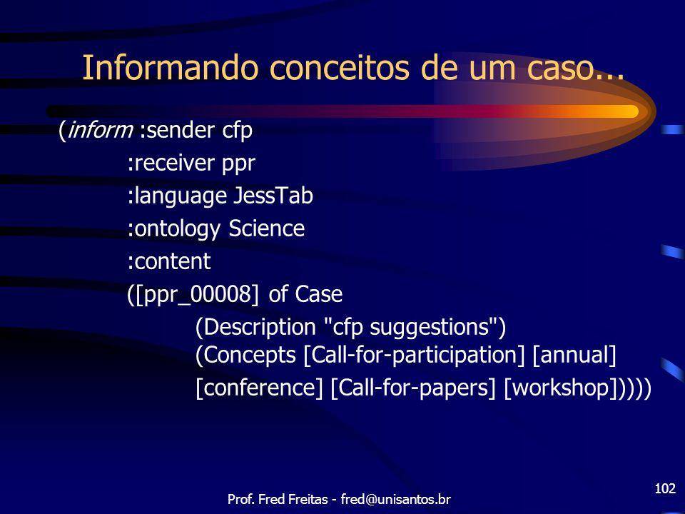 Prof. Fred Freitas - fred@unisantos.br 102 Informando conceitos de um caso... (inform :sender cfp :receiver ppr :language JessTab :ontology Science :c
