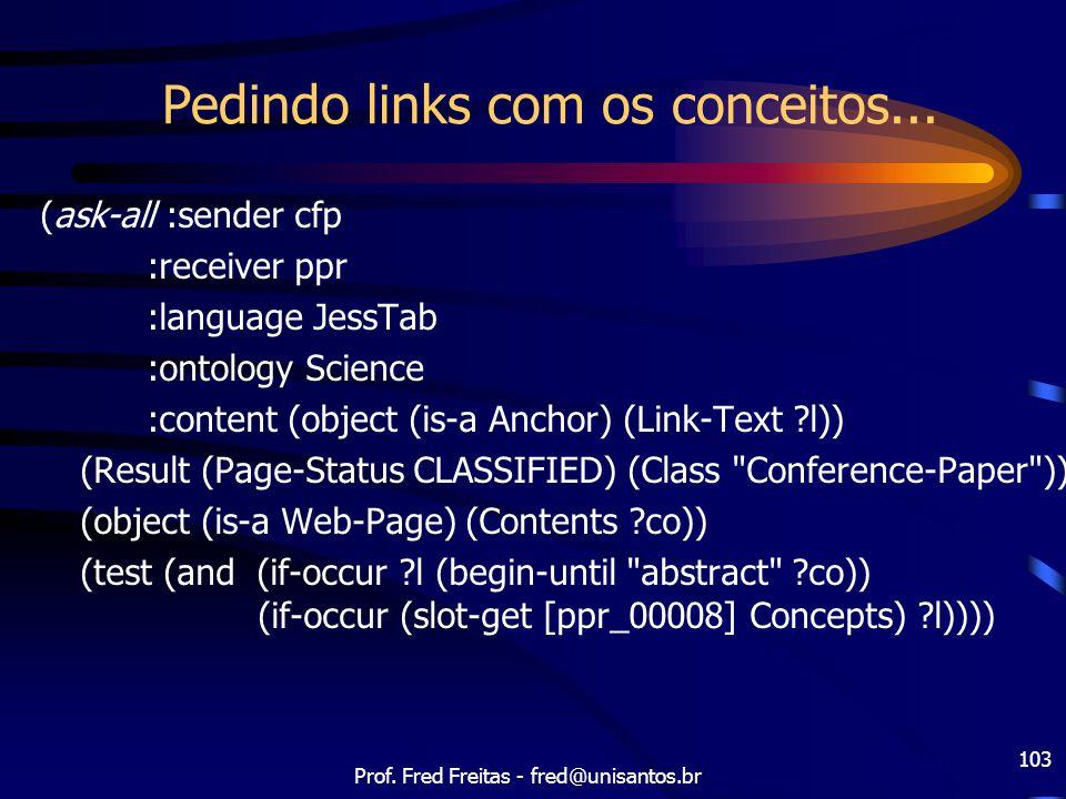 Prof. Fred Freitas - fred@unisantos.br 103 Pedindo links com os conceitos... (ask-all :sender cfp :receiver ppr :language JessTab :ontology Science :c