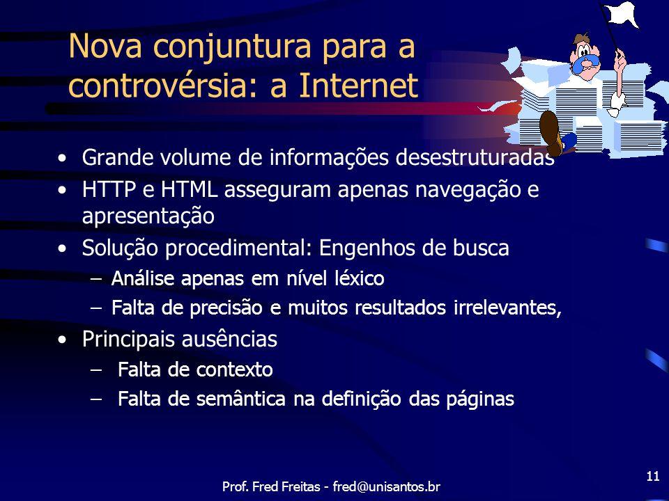 Prof. Fred Freitas - fred@unisantos.br 11 Nova conjuntura para a controvérsia: a Internet Grande volume de informações desestruturadas HTTP e HTML ass