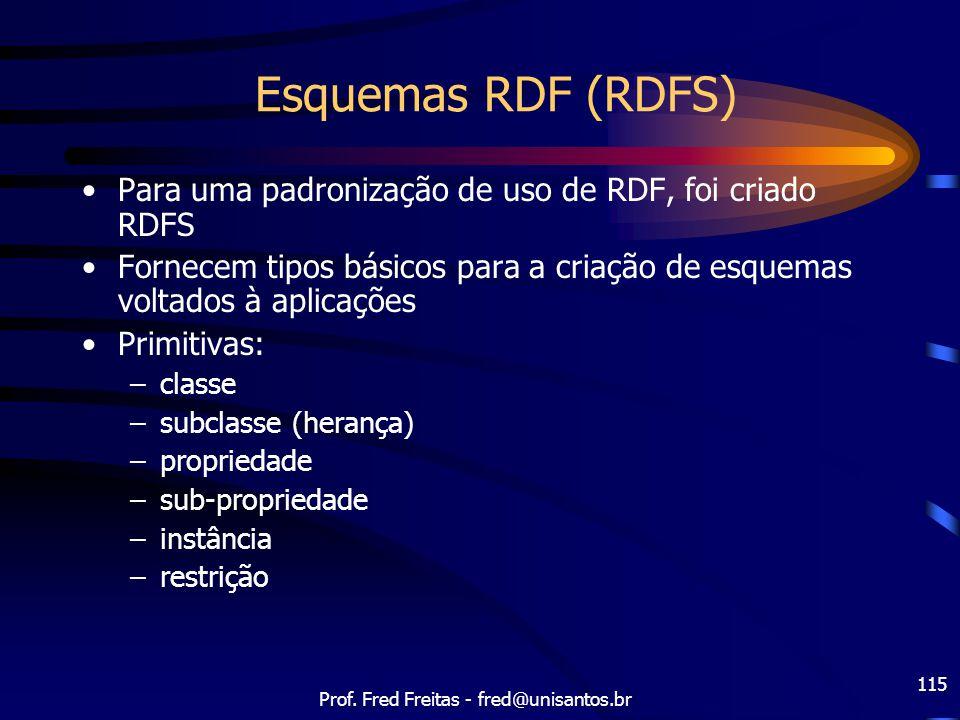 Prof. Fred Freitas - fred@unisantos.br 115 Esquemas RDF (RDFS) Para uma padronização de uso de RDF, foi criado RDFS Fornecem tipos básicos para a cria
