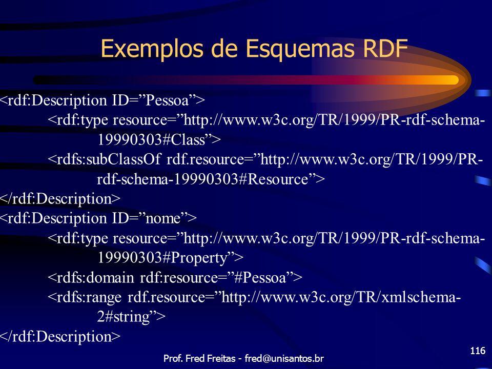 """Prof. Fred Freitas - fred@unisantos.br 116 Exemplos de Esquemas RDF <rdf:type resource=""""http://www.w3c.org/TR/1999/PR-rdf-schema- 19990303#Class""""> <rd"""