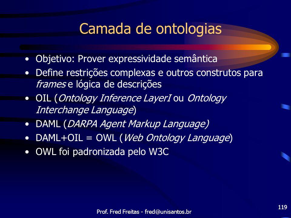 Prof. Fred Freitas - fred@unisantos.br 119 Camada de ontologias Objetivo: Prover expressividade semântica Define restrições complexas e outros constru